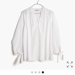 Madewell popover top with tie sleeves